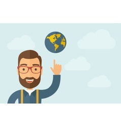 Man pointing the globe icon vector