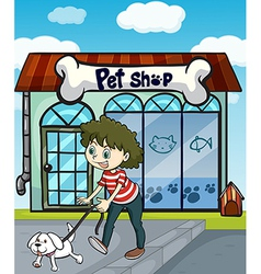 A smiling girl with dog and a pet shop vector
