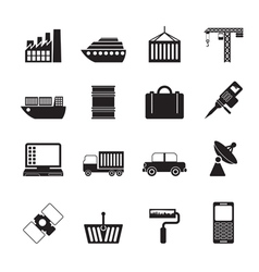 Silhouette industry and business icons vector