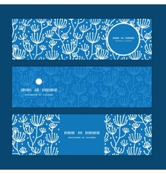 Blue white lineart plants horizontal vector