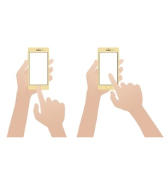 Hand holding gold smartphone touching blank white vector