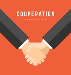 Business man holding hands partnership cooperation vector