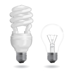 Incandescent and fluorescent light bulbs vector