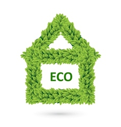 Ecology home icon of green leaves vector