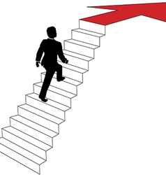 Business man climbs up arrow stairs vector