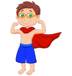 Boy cartoon pretending to be a super hero vector