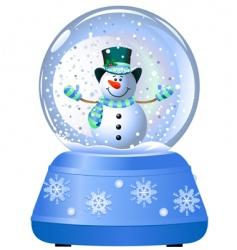 Snowman in snow globe vector