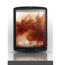 Tablet computer with flower background vector