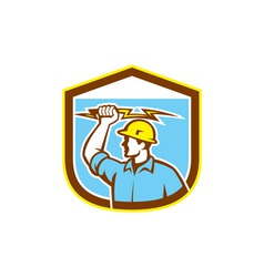 Electrician holding lightning bolt side shield vector