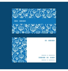 Blue white lineart plants horizontal stripe vector