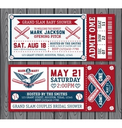 Set of vintage baseball tickets vector
