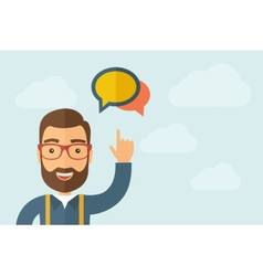 Man pointing the two speech bubbles icon vector