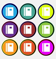 Book icon sign nine multi-colored round buttons vector