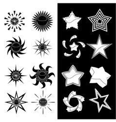 Star and sun symbols vector