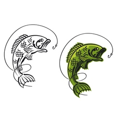 Catch a carp fish as a fishing symbol isolated on vector