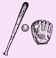 Baseball glove and ball drawing