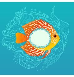 Sunny fish banner vector