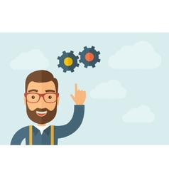 Man pointing the gears icon vector