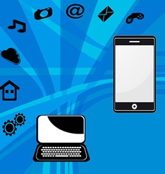 Laptop and mobile phone vector