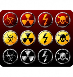 Steel shields with warning symbols vector