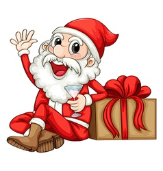 Santa sitting beside a gift vector