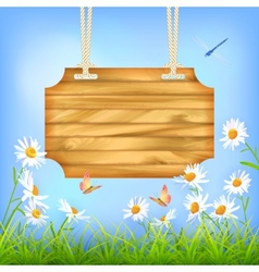 Sky green grass flowers wood board vector