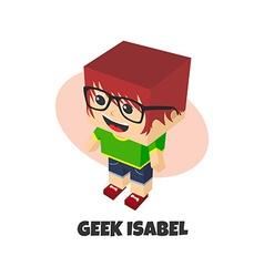 Block isometric cartoon character vector
