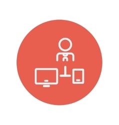 Man with computer set thin line icon vector