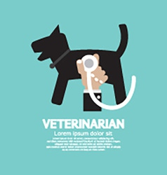 Doctors hand with stethoscope checking on dogs vector