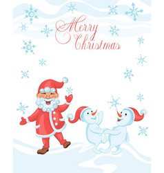 Christmas cartoon card with dancing santa vector