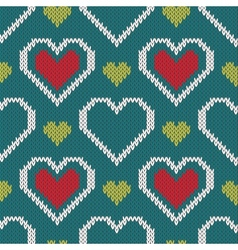 Seamless knitted sweater pattern with hearts vector