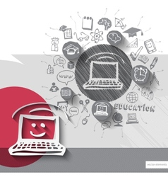 Paper and hand drawn laptop emblem with icons vector