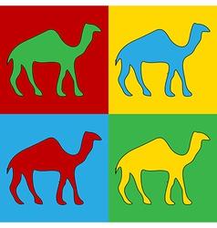 Pop art camel icons vector