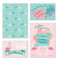 Flamingo wedding invitation cards vector
