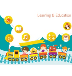 School train kids text balloon background vector