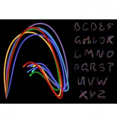 Optical fiber alphabet vector