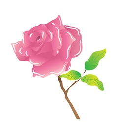 A stem pink rose on white vector