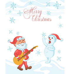 Christmas cartoon card with playing the guitar san vector