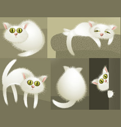 White cute cats vector
