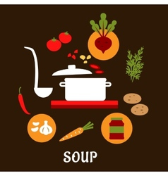 Recipe of vegetarian soup with flat icons vector