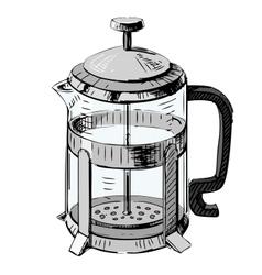 French press tea pot vector