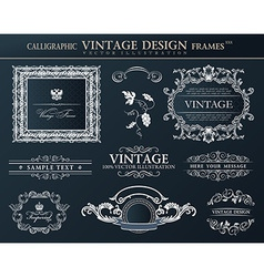 Vintage black frames ornament set element decor vector