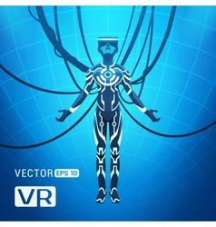 Man in a virtual reality helmet vector