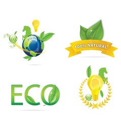 Nature earth eco sign set green color vector