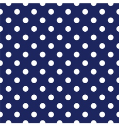 Seamless pattern white polka dots navy background vector