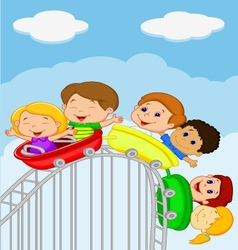 Cartoon kids riding roller coaster vector