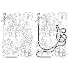 Pirate maze vector