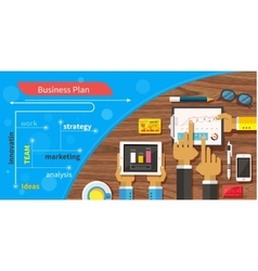 Business plan strategy with touchscreen vector
