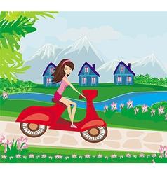 Motorynce girl on a sunny day vector