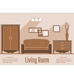 Living room interior flat design vector